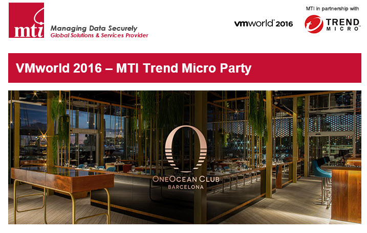 Trend Micro VIP Party – sponsored by MTI Technology